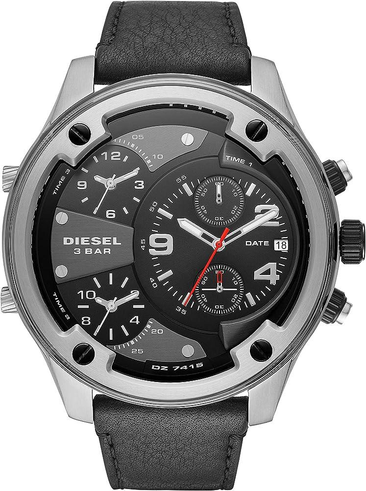 Diesel orologio cronografo uomo con cinturino in vera pelle e cassa in acciaio inossidabile DZ7415