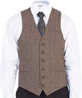 Men's 6 Button Slim Fit Formal Herringbone Tweed Vest