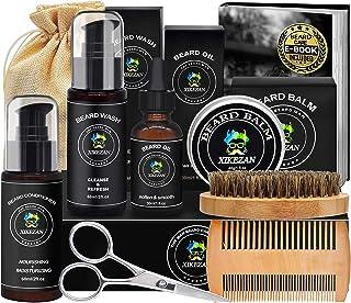 Beard Grooming Kit w/Beard Conditioner,Beard Shampoo/Wash,Beard Oil,Beard Balm,Brush,Comb,Scissors,Storage Bag,Beard E-Book,Beard Growth Kit Unique Stocking Stuffers Gifts for Men Him