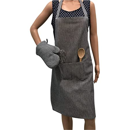PIXEL HOME Premium Cotton Apron with Front Center Pocket with Ends and Gloves (Colour- Grey)