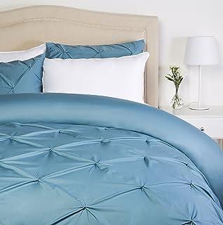 Pinzon Parure de lit plissée - 240 x 220 cm - Bleu Pierre