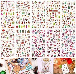 HOWAF 10 Feuille Noël Autocollantes Stickers pour Enfants, Paillettes Gomettes Autocollantes Bricolage Scrapbooking Sticke...