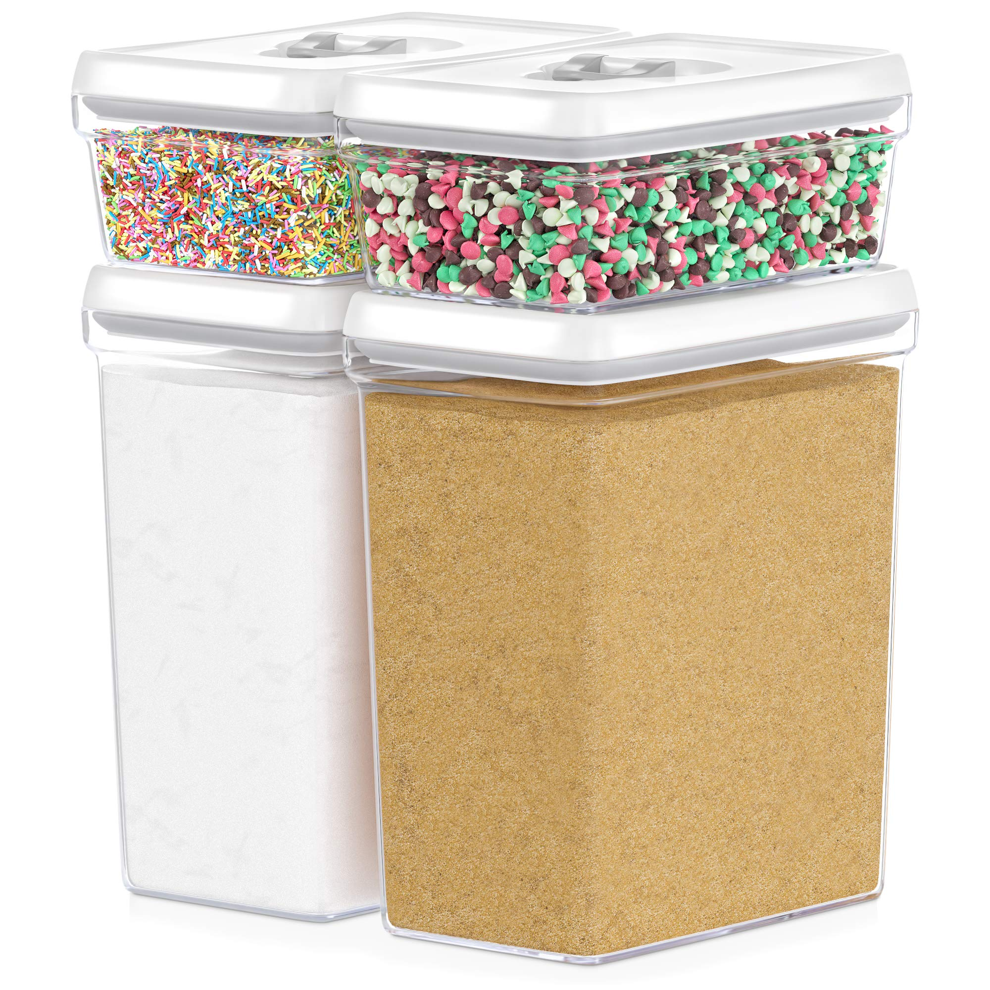 Amazon Com Dwellza Kitchen Large Airtight Food Storage Containers Bulk Food Pantry Kitchen Storage Containers For Sugar Flour And Baking Supplies 4 Pc Set Clear Plastic Bpa Free Keeps Fresh