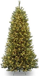 National Tree 7.5 Foot Rocky Ridge Pine Slim Tree with 600 Clear Lights, Hinged (RRSL1-75LO)