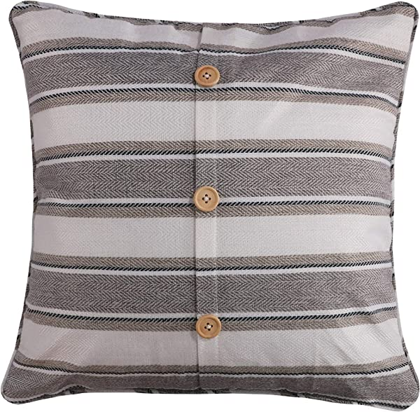 Levtex Home Kasidy Modern Rustic Button Pillow Stripe Invisible Zipper 100 Polyester Gray
