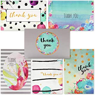 Juvale 48-Count Floral Watercolor Thank You Note Cards Bulk Box Set - Blank Inside with Envelopes, 4 x 6 Inches