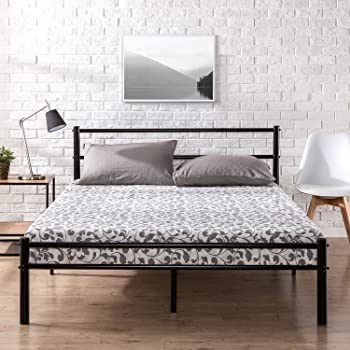 Zinus Geraldine 12 inch Black Metal Platform Bed Frame with Headboard and Footboard / Premium Steel Slat Support / Mattress Foundation, Full