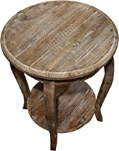 Austerity Reclaimed Wood Round End Table, Driftwood