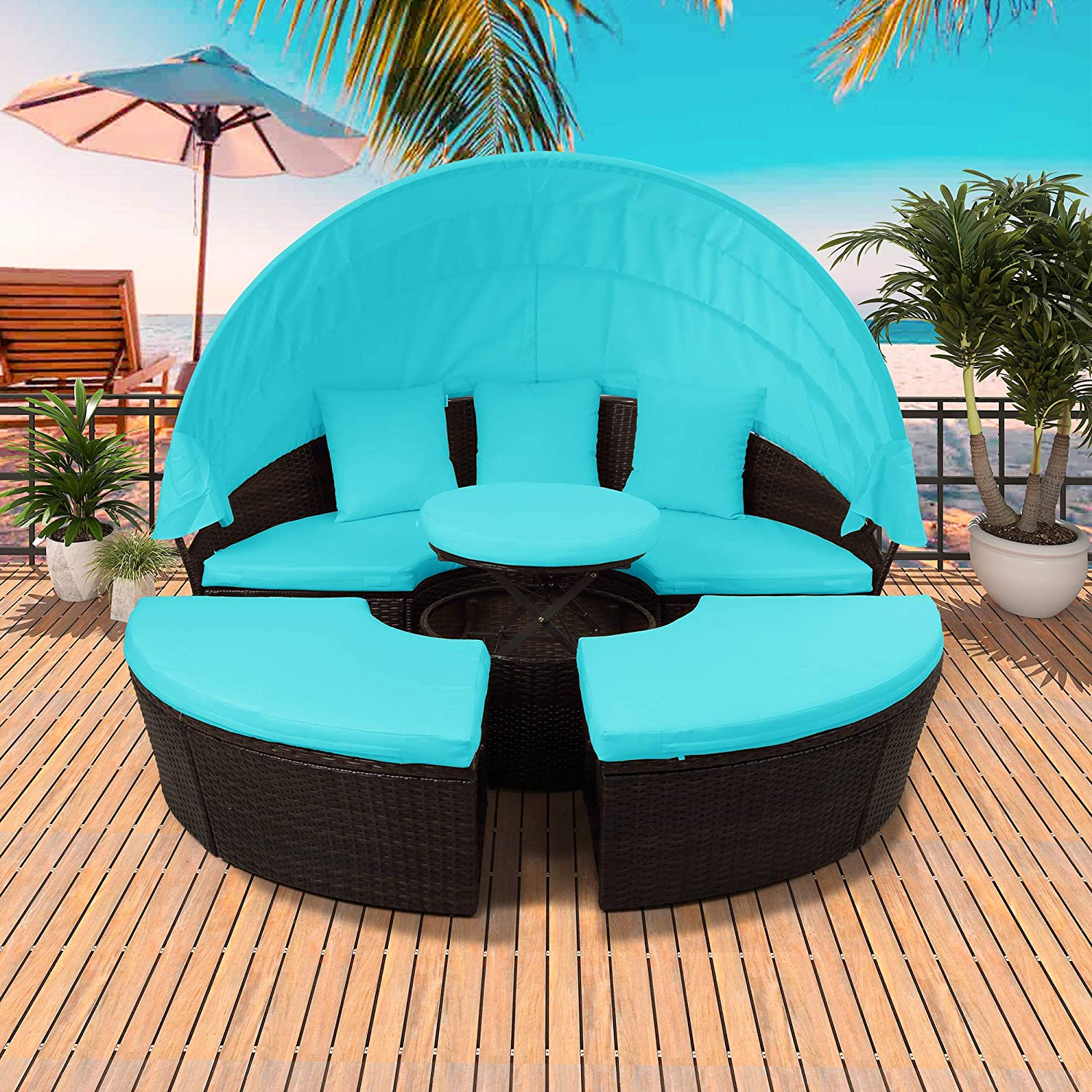P PURLOVE Round Outdoor Austin Mall Sectional Rattan Daybed Set Sunbed Sofa Choice