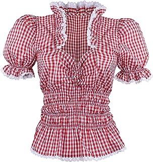 By Johanna Trachtenbluse Dirndlbluse Damen Rüschenbluse Bluse Kurz Arm. Karobluse zur Jeans Lederhose Rot Weiß Kariert