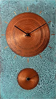 19-inch Turquoise Copper Rustic Farmhouse Gift Wall Clock - Silent Non Ticking for Home/Office/Kitchen/Bedroom/Living Room/7th Anniversary