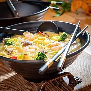 2 Sets (6 Piece) Japanese Ramen Soup Bowls, Salad Bowls, Home Kitchen Cereal Bowls, Japanese Dinner Set, Mixing Bowls Dishware Set (with Unique Chopsticks and a Japanese Soup Spoon), Black