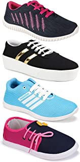 Camfoot Women's (5053-1044-5026-11028) Multicolor Casual Sports Running Shoes (Set of 4 Pair)