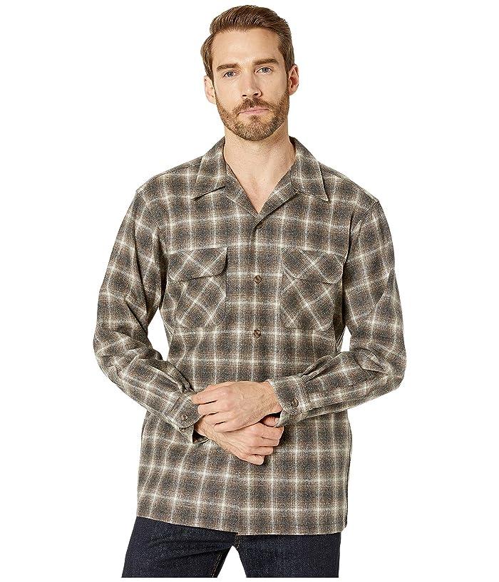 Vintage Mens Clothing | Retro Clothing for Men Pendleton LS Board Shirt Brown MixIvory Ombre Mens Long Sleeve Button Up $75.24 AT vintagedancer.com