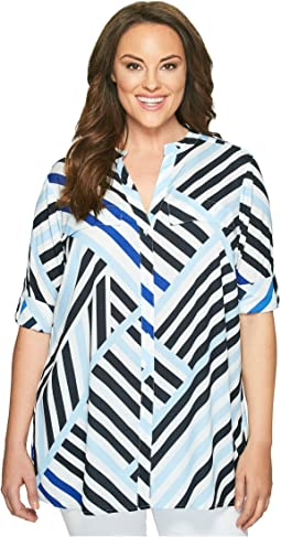 Plus Size Printed Roll Sleeve