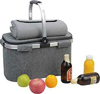 Picnic Basket Beautiful Design Insulated Tote Bag Kit Insulated Lunch Tote for Women & Men Picnic   Wine Picnic Set   Heavy Duty Aluminum Frame and Handle   Collapsible Cooler Keeps Drinks Cool