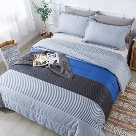 Andency Stripe Comforter Set Full Size (79x90 Inch), 3 Pieces Gray and Blue Patchwork Striped Comforter, Soft Microfiber Down Alternative Comforter Bedding Set with Corner Loops (Grey, Blue, Black)