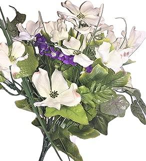 Beauty Blooms Purple & White Silk Dogwood & Purple Flowering Vine Accent, 18