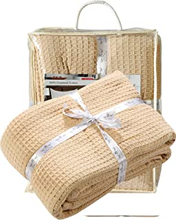 All Season Cotton Thermal Blanket in Waffle Weave -Perfect for Layering Any Bed,Linen Beige Color Size 60x90 inch,Light Thermal Blankets,Twin Thermal Blankets,Breathable Blanket,Twin Thermal Blankets
