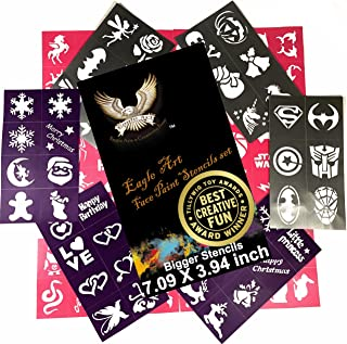 Eagle Art Face Paint Stencils | Bigger Stencils 7.09x3.94 inch | X-Large 2x2.4, Large 2x1.8, Medium 2x1.4 size | Flex to Follow Contour Body & Face for Perfect Application | Reusable Adhesive Stencils