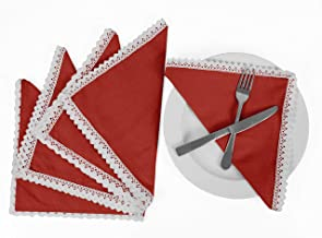 Vargottam Red Home Décor Everyday Basic Washable Table Linen Napkin Set-Pack of 12