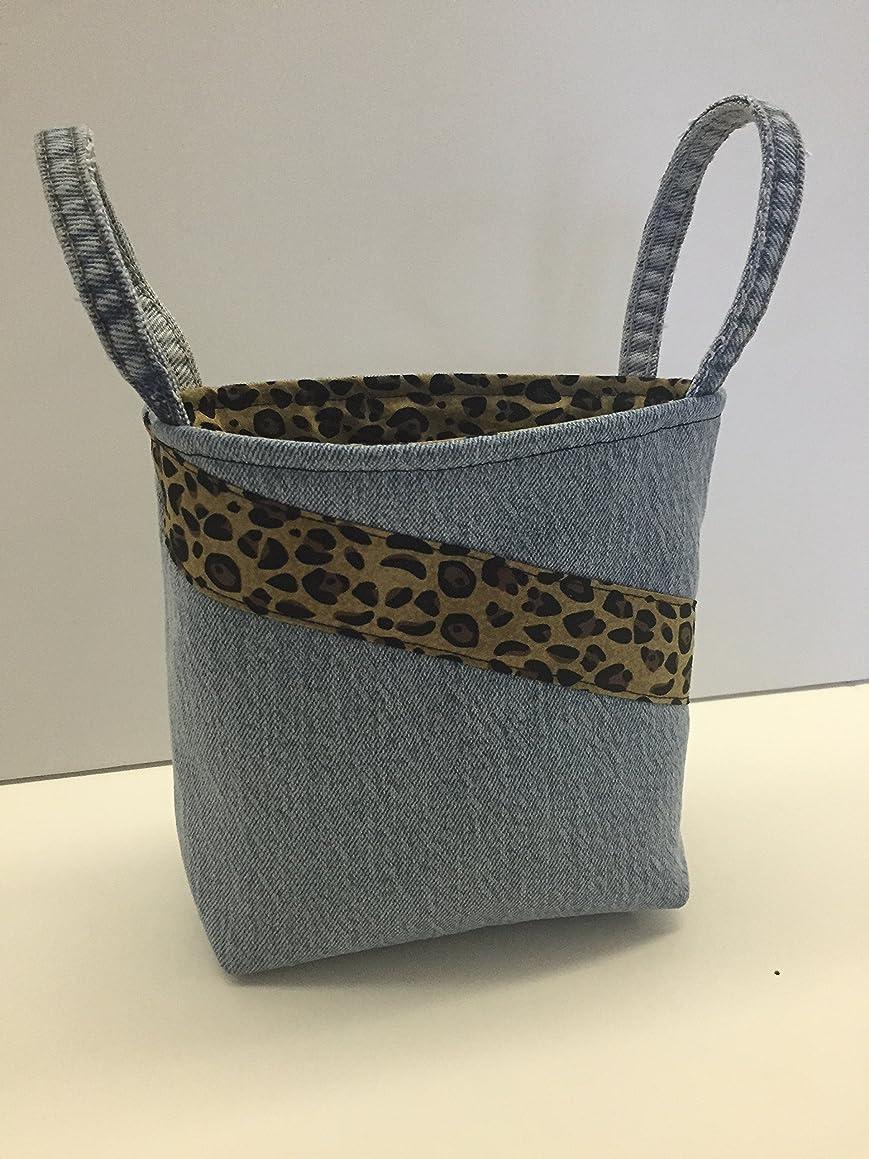 Handmade Upcycled basket, cheetah print, denim basket,Storage Bin, Fabric Caddy, Fabric Basket, Fabric Organizer,Project Caddy,Ready to Ship