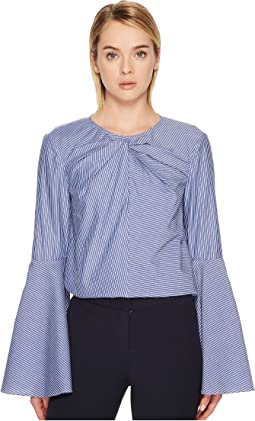 Stripe Cotton Long Sleeve Keyhole Blouse