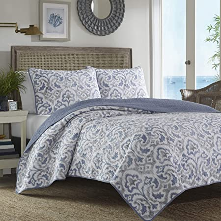 Tommy Bahama Cape Verde Collection 100% Cotton Reversible & Light-Weight Quilt Bedspread with Matching Shams, 3-Piece Bedding Set, Pre-Washed for Extra Comfort, King, Smoke