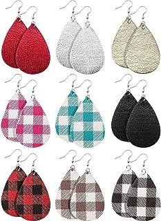 9 Pairs Teardrop Leather Dangle Earrings Lightweight Leather Earrings for Women Girls Statement Flower Drop Dangling Earring Set (Multicolor B)