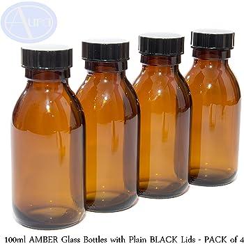LOT de 4 - Bouteilles en verre AMBRE de 100ml avec bouchons NOIRS.