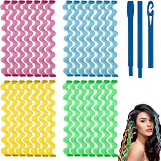 ABM 28 Pieces 17.7 Inch Heatless Wave Formers, Long Hair Curlers for Beachy Curls, User Guide and Styling Hook Included, A...