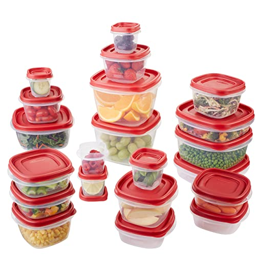 Rubbermaid Easy Find Lids Food Storage Containers, Racer Red, 42 Piece Set