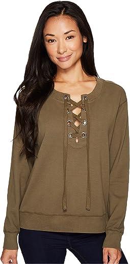 Soft as Cashmere Cotton Interlock Lace-Up Sweatshirt