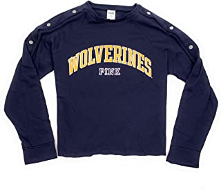 Victoria's Secret Pink Women's NCAA University of Michigan Raw Edge Sweatshirt