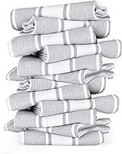 GLAMBURG Set of 12 Premium Cotton Kitchen Dish Towels 18x28 inches, Dish Cloths, Bar Towels, Tea Towels and Cleaning Towels - Grey