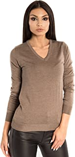 KNITTONS Women's Wool Classic Slim Fit V-Neck Sweater Pullover