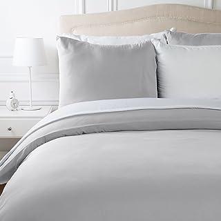 AmazonBasics Parure de lit en microfibre, gris clair, 200 cm x 200 cm/65 cm x 65 cm x 2