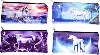 Magical Unicorn 9 x 4 Inch Cosmetic Zipper Pouch, Set of 4 Assorted Styles