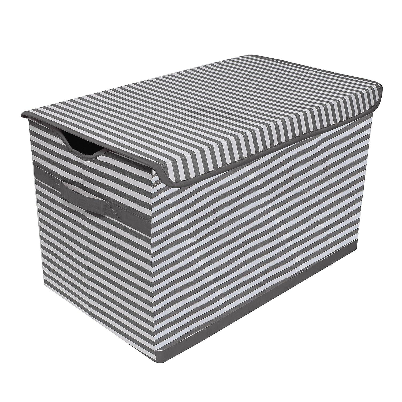 Bacati Ranking TOP10 Pin Stripes Grey Max 67% OFF White Kids Storage Chest 14.5 x L Toy 2