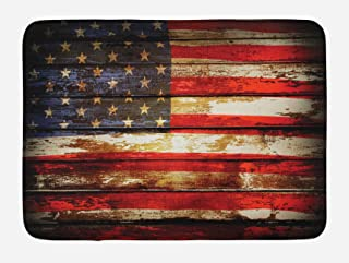 Ambesonne American Flag Bath Mat, Us Over Old Rusty Tones Weathered Vintage Social Plank Artwork, Plush Bathroom Decor Mat with Non Slip Backing, 29.5