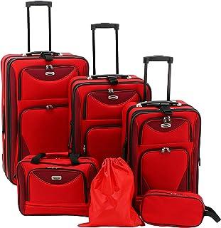Travelers Club Skyview II Softside Luggage Set, Red, 6-Piece
