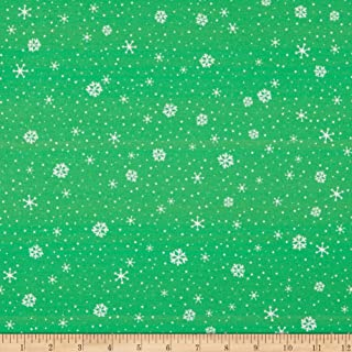 Patrick Lose Fabrics Patrick Lose Studio Snow Happy Flurries Fabric, Green, Fabric By The Yard