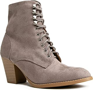 Brady Ankle Bootie - Suede Lace Up Closed Toe Block Heel Ankle Boot