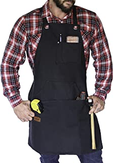 HUNTR Work Apron - Heavy Duty Waxed Canvas Shop Apron for Men and Women with Tool Pockets - Fully Adjustable S to XXL