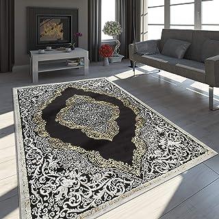 Paco Home Alfombra Oriental Moderna Efecto 3D Jaspeada Brillante Ornamentos En Negro Y Dorado tamaño:80x150 cm