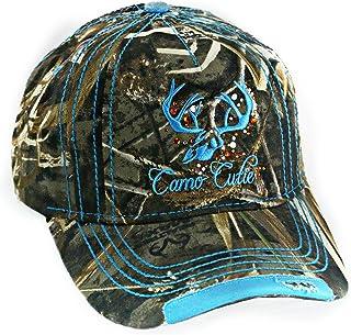 85c02e5696cc5d Camo Cutie Womens Realtree Camo Cap with Blue Trim and logo Plus Free Gift