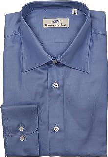 Remo Sartori - Camicia Uomo in Cotone Saglia Blu Avio, vestibilità Regolare, Maniche Lunghe, Made in Italy