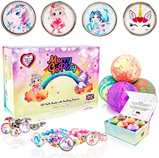 Gift bath bombs for girls with snap-button bracelets inside PLUS Jewelry Box for kids - All Natural with skin moisturizing...