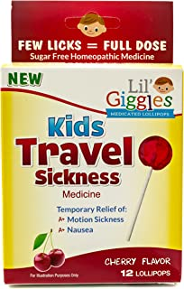 Lil' Giggles Kid's Medicated Travel Sickness Lollipops For Children Motion Sickness, Car Sickness And Travel Nausea. Homeo...