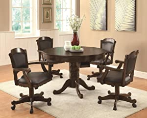 Coaster Home Furnishings Turk 5-Piece Round Game Table Dining Set Tobacco and Black